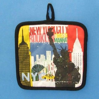 """Pack Of 6 Cotton Decorative """"NY ALL ICON"""" Pot Holders"""