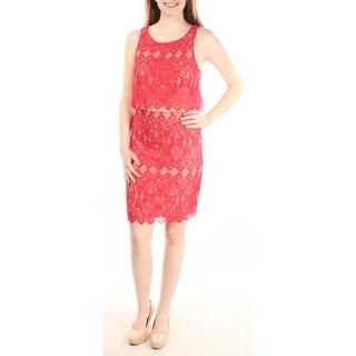 KENSIE $99 Womens New 2081 Red Lace Detail Jewel Neck Sheath Dress XS B+B
