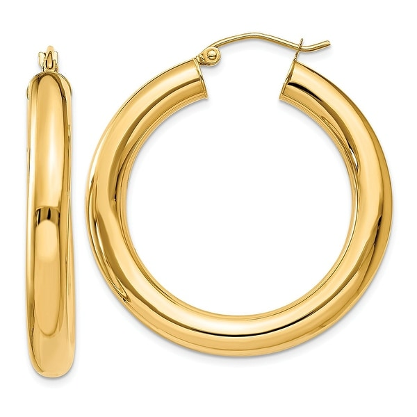 Mcs Jewelry Inc  14 KARAT YELLOW GOLD CLASSIC HOOP EARRINGS (DIAMETER: 40MM)