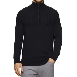 Calvin Klein NEW Black Mens Size Large L Cable Knit Quarter Zip Sweater
