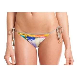 Trina Turk NEW Yellow Women's 6 Side Tie Printed Bikini Bottom Swimwear