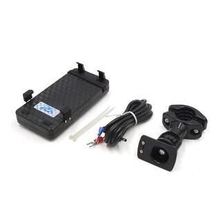 Black Plastic Motorcycle Handlebar Cell Phone Mount Holder Bracket USB Charger