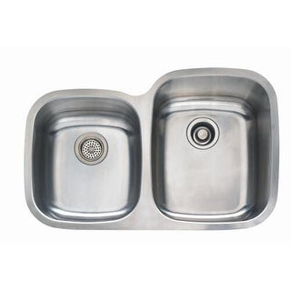 "Mirabelle MIRUC3221R 31-1/2"" Double Basin Stainless Steel Kitchen Sink with 60/4"