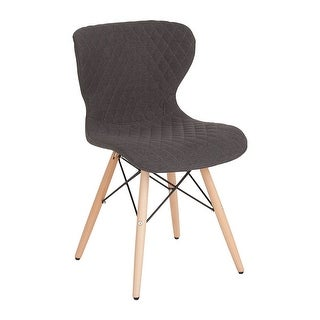 Offex Contemporary Upholstered Accent Side Chair with Wooden Legs in Dark Gray Fabric
