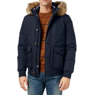 Tommy Hilfiger NEW Navy Blue Mens Size Small S Faux-Fur Trim Jacket