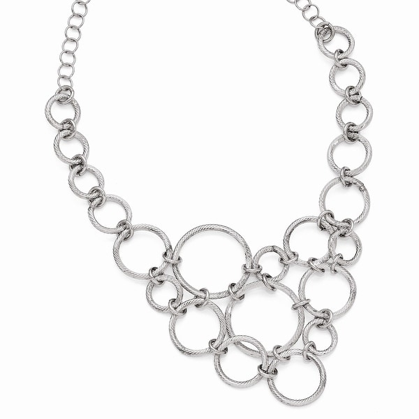 Italian Sterling Silver Polished & Diamond Cut Fancy Link Necklace - 18.5 inches