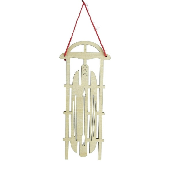 "7.5"" Holiday Moments Old Fashioned Wooden Sled with Arrow Cut-Outs Christmas Ornament"