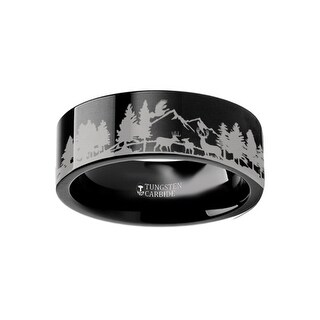 Animal Scene Reindeer Deer Stag Mountain Range Canvas Ring Engraved Flat Black Tungsten Ring - 6mm