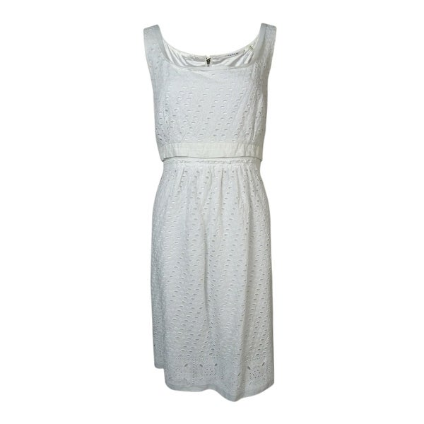 2bc0c490273 Shop T Tahari Women s Anabelle Scoop Neck Eyelet Cotton Sundress - White -  12 - Free Shipping On Orders Over  45 - Overstock - 14816183