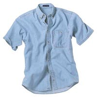 River's End Mens Short Sleeve Denim And Twill Shirt Casual Tops