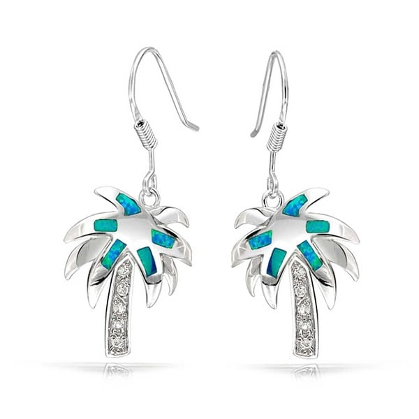 Shop Created Blue Opal Beach Tropical Inlay Palm Tree Dangle French Wire  Earrings For Women 925 Sterling Silver - Free Shipping On Orders Over  45  ... 427efdee1