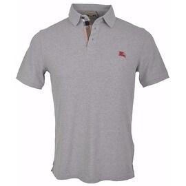 New Burberry Brit Men's Pale Grey Cotton Nova Check Placket Polo Shirt Small