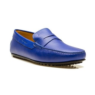 Tod's Men's Leather Mocassino City Gommino Loafer Shoes Blue