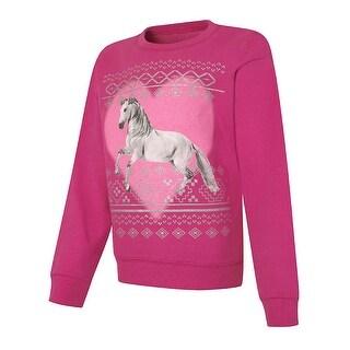 Hanes EcoSmart® Girls' Young Wild Free Crewneck Sweatshirt - Size - XS - Color - Unicorn/Amaranth - Assorted