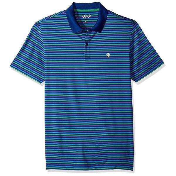 Shop IZOD Blue Mens Size Small S Stripe Performance Golf Polo Shirt