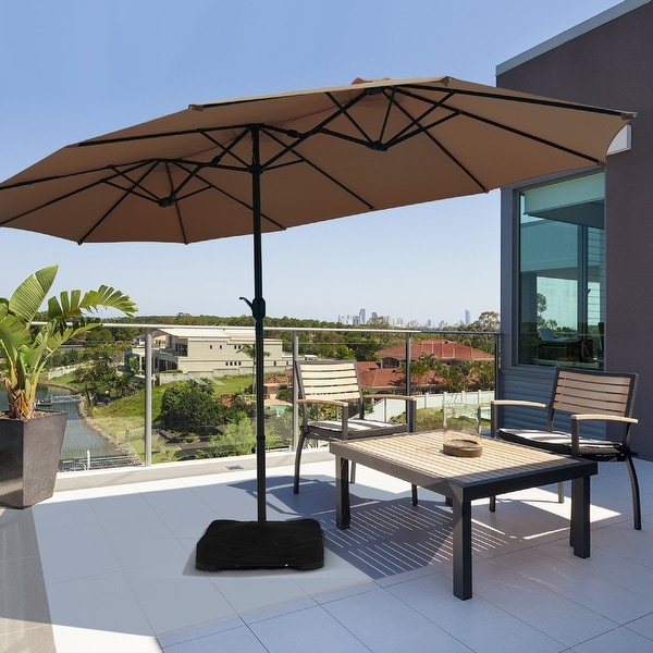 15 Ft Outdoor Double-Sided Patio Market Umbrella with Base. Opens flyout.