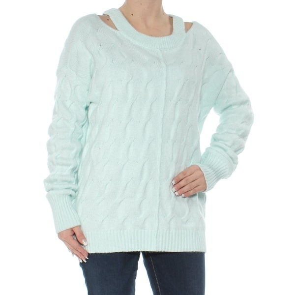 VINCE CAMUTO Womens Aqua Textured Cut Out Long Sleeve Scoop Neck Sweater Size: S
