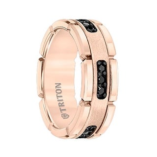 ROSETTE Flat Rose Gold Plated Tungsten Ring with Black Diamond Settings by Triton Rings - 8mm (More options available)