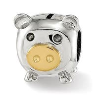 Sterling Silver Reflections Polished Gold-plated Nose Pig Bead (4.5mm Diameter Hole)