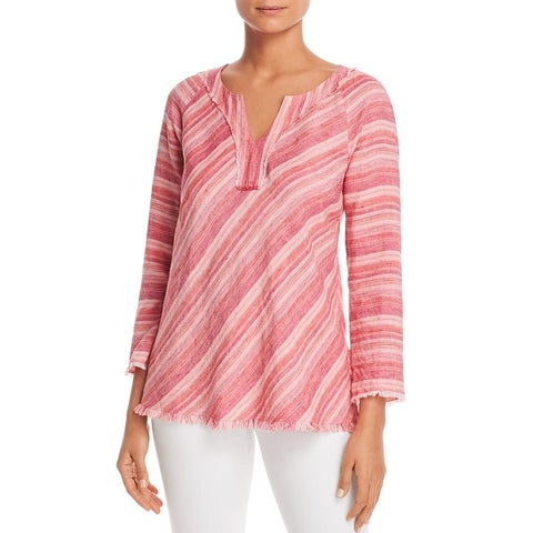 Nic + Zoe Womens Pullover Top Linen Striped