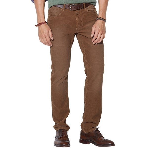 34a5e62b9 Shop Polo Ralph Lauren Mens Straight Fit Five Pocket Corduroy Pants 36X32  Brown - Free Shipping Today - Overstock - 14368214