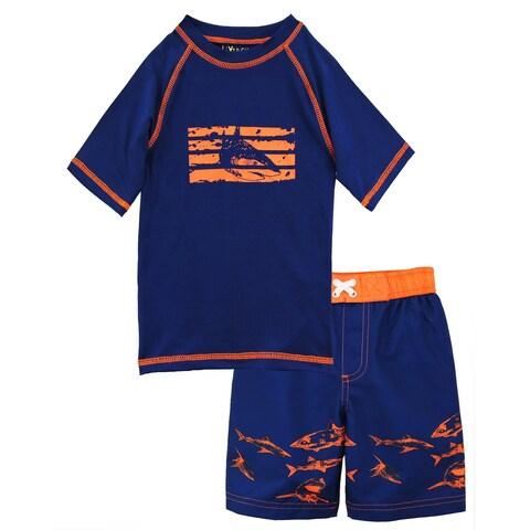 iXtreme Toddler Boys Shark Short Sleeve Rash Guard Swim Trunk 2Pc Set