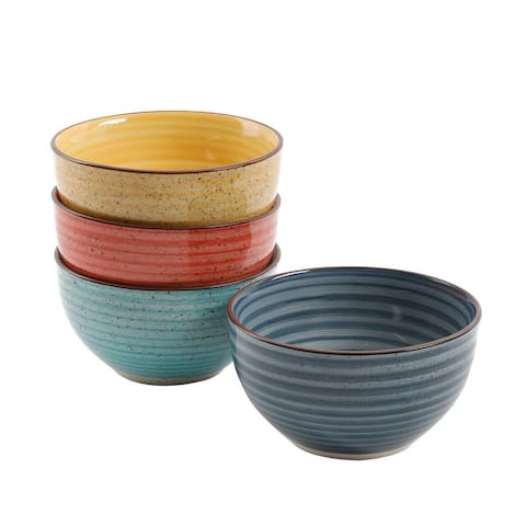 """Gibson Color Speckle 4 pc 5.25"""" Cereal Bowl Set"""