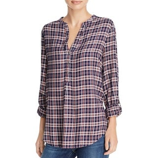 Joie Womens Daylan Casual Top Plaid High Low - XXS