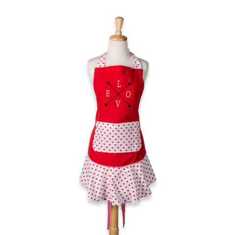 """28.5"""" Pink and White Heart Love Struck Ruffle Apron"""