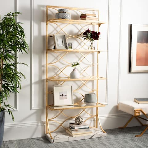 "Safavieh Spano 4 Glass Tier Marble Base Etagere - Gold / White - 34"" x 12"" x 76"""