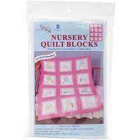 "Stamped White Nursery Quilt Blocks 9""X9"" 12/Pkg-Sunbonnet Babies"