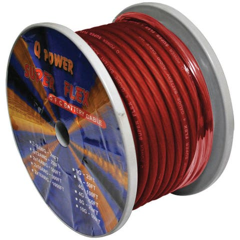 Qpower 4ga red power wire 4ga. 100' red qpower