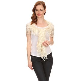 Womens Mini Flower Lace Scarf with Tassels.