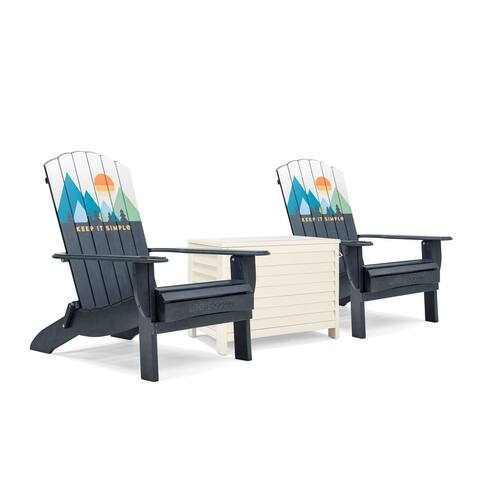 Life is Good Adirondack Oversized Folding Chairs and Cooler (Set of 3)