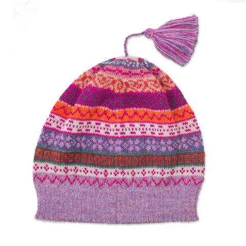 NOVICA Inca BloomsWool knit hat