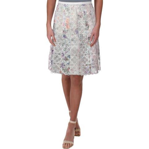 Elie Tahari Womens A-Line Skirt Lace Pleated - 2