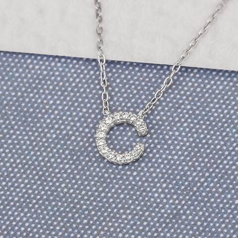 Cali Trove 1/15 cttw Round White Diamond 10K White Gold Initial Alphabet Letter C Pendant Necklace