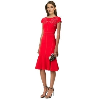 Marchesa Notte Floral Embroidered Crepe Cap Sleeve Cocktail Dress - 10