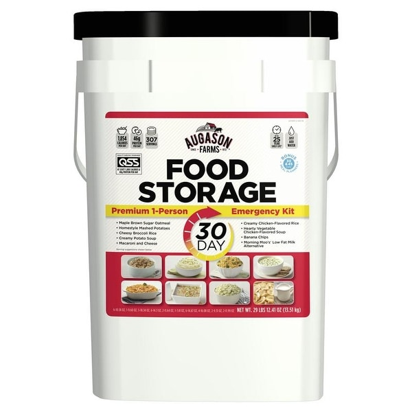 Augason Farms 1-Person 30-Day Emergency Food Supply - QSS-Certified - White