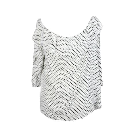 Inc International Concepts White Polka Dots Ruffled Off-The-Shoulder Blouse XL