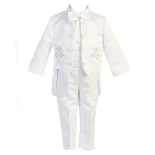 Angels Garment Baby Boys White 5 pcs Silver Embroidered Tuxedo 3-24M