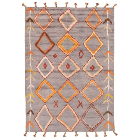 ECARPETGALLERY Hand-knotted Arlequin Grey Wool Rug - 5'7 x 7'9