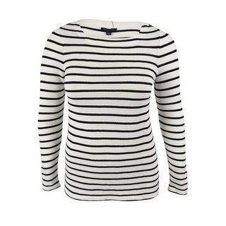 Tommy Hilfiger Women's Striped Boat Neck Sweater - white/navy - l