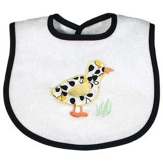 Raindrops Unisex Baby Duck Appliqued Bib, Black - One size