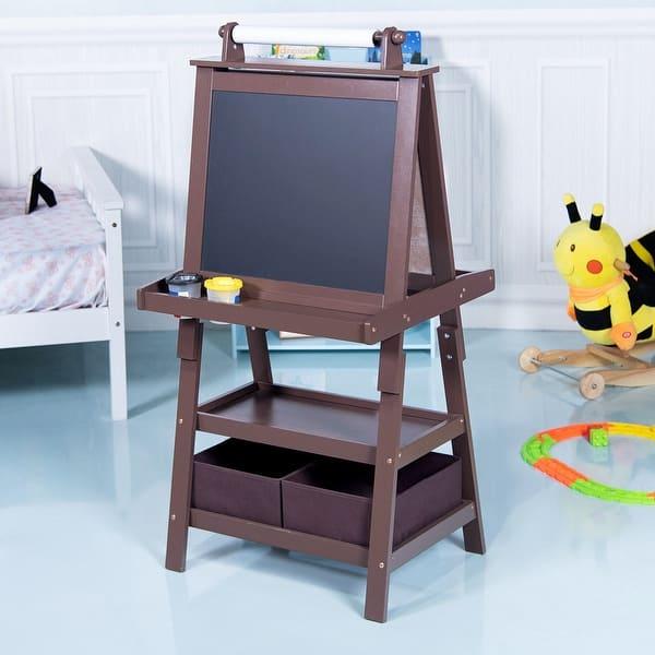 Shop Gymax Kids Standing Art Easel Black Whiteboard Storage