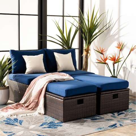 Safavieh Outdoor Living Telford Settee with Storage Ottoman