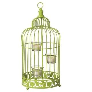 "17"" Fancy Fair Contemporary Style Lime Green Birdcage Tea Light Candle Holder"
