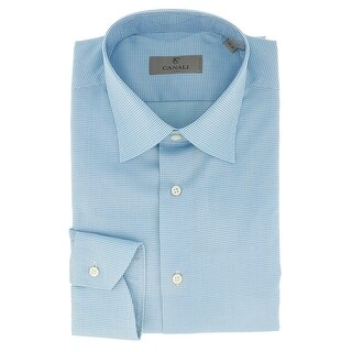 Canali Blue Grid Formal Shirts