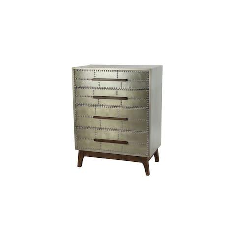 "27"" x 35"" Industrial Metal 4 Drawer Dresser w Wood Handles and Metal Studs - 27 x 16 x 35"