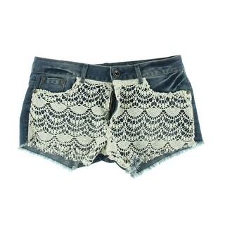 Rewash Womens Juniors Cutoff Shorts Crochet Front Flat Front